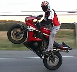 riding a wheelie
